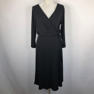 Ann Taylor LOFT Black Faux Wrap Dress Tie Waist 16